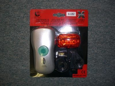 Bike Headlight with Battery Indicator and Rear Light Combo