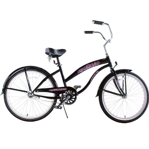 Greenline Ladies 24 Inch Deluxe Beach Cruiser - Black and Pink