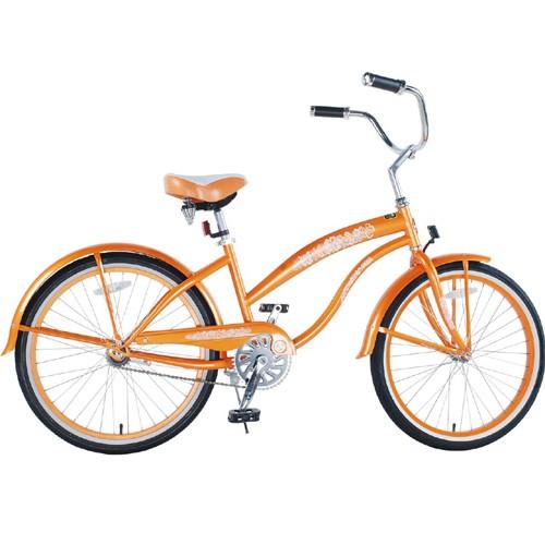 Ladies 24 Inch Deluxe Beach Cruiser - Orange