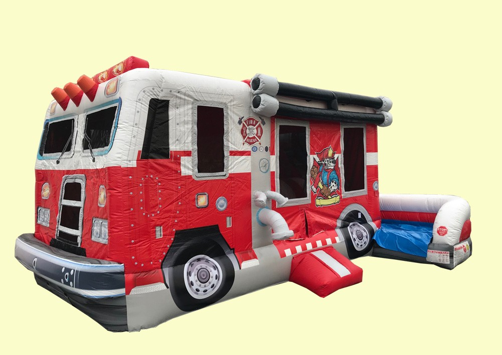 Fire Truck Combo Bouncer - Commercial Inflatable Bounce House