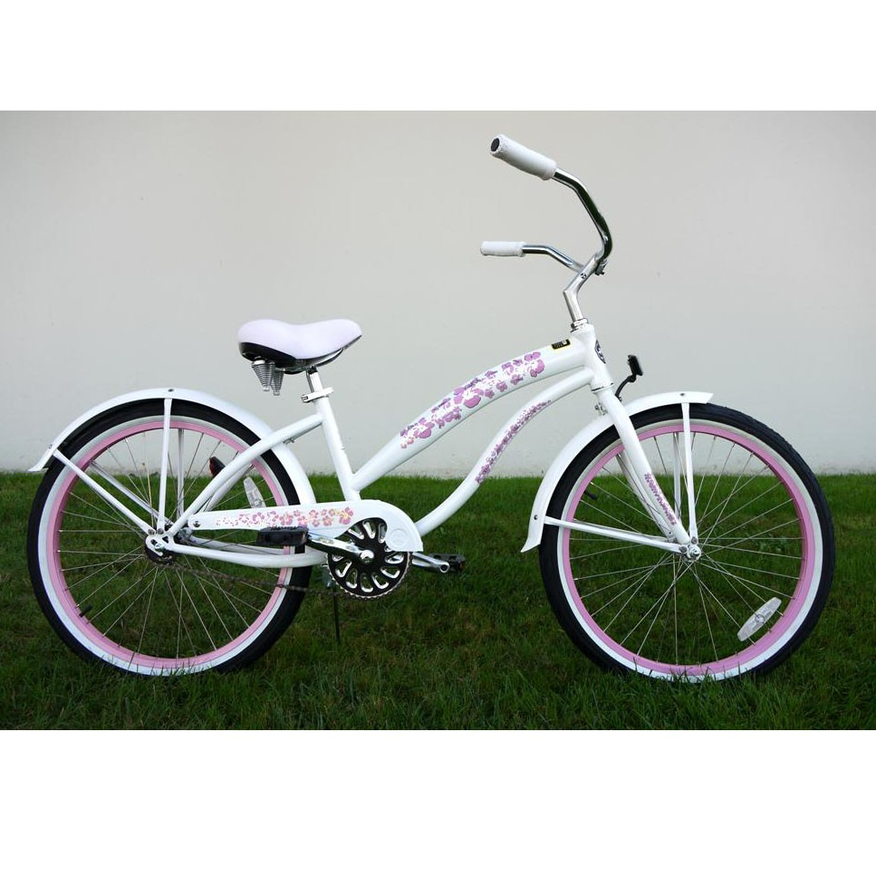 Greenline Ladies 24 Inch Deluxe Beach Cruiser - Pearl White