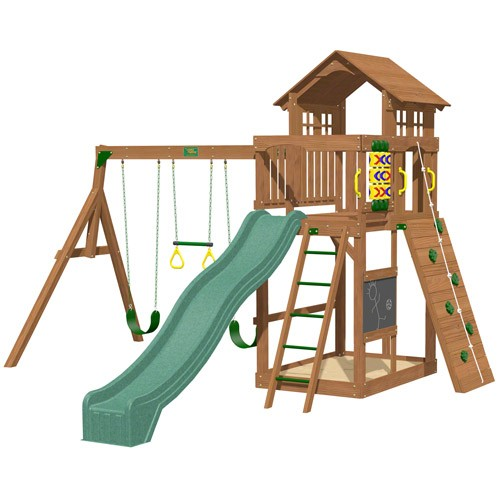 Playtime Seminole Swing Set With 10 Ft Green Wave Slide