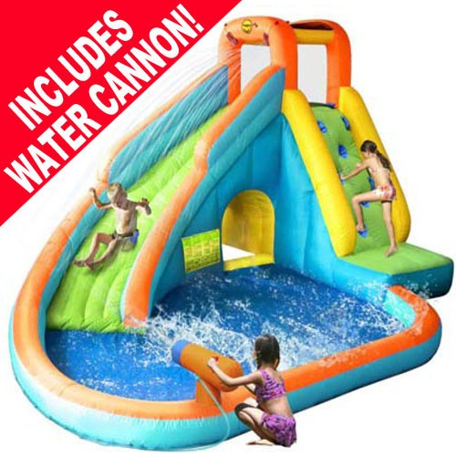 kidwise splash landing waterslide with water cannon - Inflatable Water Slide