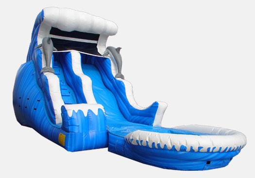 18' Ocean Themed Double Drop with Pool - Commercial Inflatable Waterslide