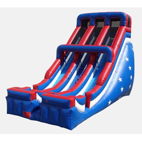 24' Patriotic Double Lane Slide - Commercial Grade Slide