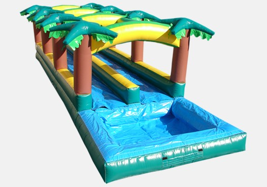 Hawaiian Slip and Slide Double Lane with Pool - Commercial Inflatable Waterslide