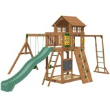 Playtime Cypress Swing Set With 10 Ft Green Wave Slide