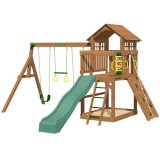 Playtime Eagle Point Swing Set With 8 Ft Green Wave Slide