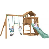 Playtime Eastport Swing Set With 8 Ft Green Wave Slide